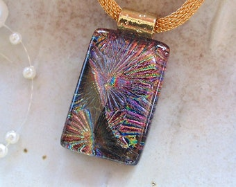 Dichroic Pendant, Glass Pendant, Fused Glass Jewelry, Copper, Purple, Necklace Included, A12