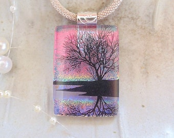Dichroic Pendant, Fused Glass Jewelry, Reflecting Tree, Necklace Included, Red, Lavender, A4