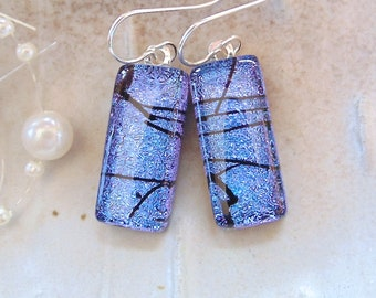 Purple Earrings, Blue, Black, Dichroic Glass Earrings, Fused Glass Jewelry, Dangle, A1