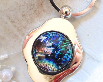 Dichroic Glass Keychain, Fused Glass