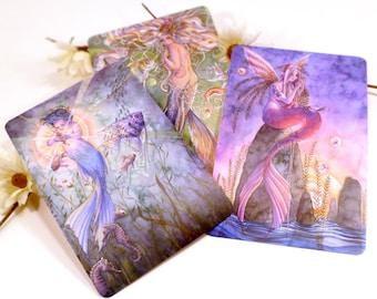 Mermaid Postcards Orange Pink and Blue Fish Tail Mermaids