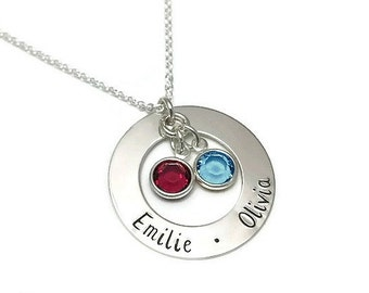 Sterling Silver Hand Stamped Mother's Necklace with Two Names & Birthstones