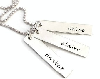 NEW Sterling Tag Necklace with Three Names