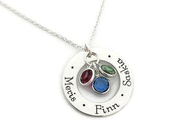 Hand Stamped Sterling Mother's Necklace