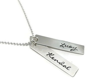 Personalized for you- Sterling Silver Hand Stamped Tag Necklace
