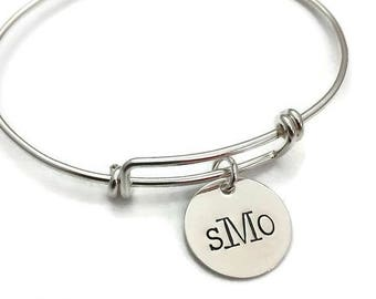 Elegant Sterling Silver Adjustable Bangle Bracelet - Personalized with your monogram