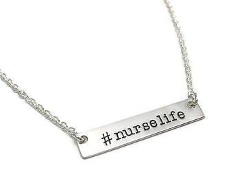 Sterling Silver #NURSELIFE Horizontal Hand Stamped Tag necklace