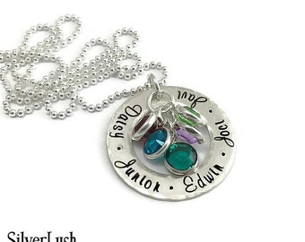Rustic Sterling Silver Mother's Necklace with Five Names & Birthstones