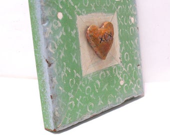 Heart Art - XOX Heart - Original Mixed Media Assemblage - Architectural Salvage Wood Collage - Heart Wall Art - Valentine Art - Home Decor