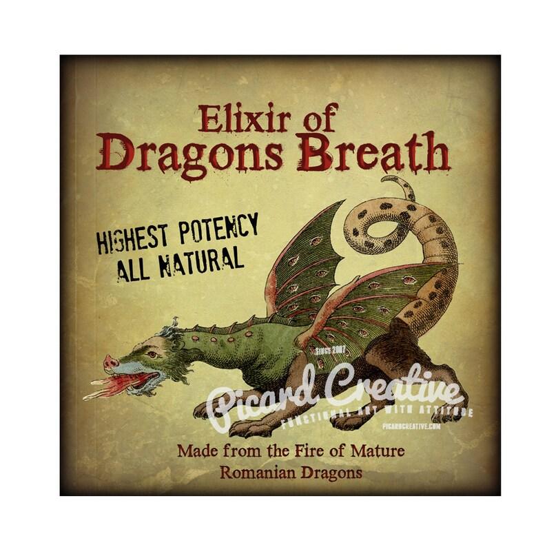 Elixir of Dragons Breath Label for Bottles/Jars 3 25 x 3 25 JPEG 300 DPI  Digital Download- Can be enlarged up to 10