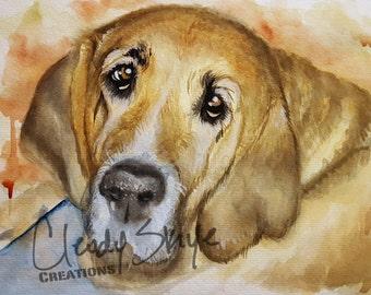 CUSTOM Pet Portrait, commission original watercolor home decor wall art