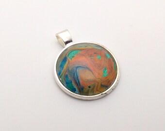 Acrylic Pour Pendant - #003 Copper Beach