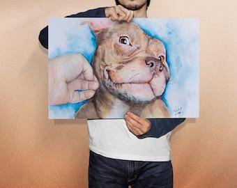 DIGITAL DOWNLOAD Brown Pitbull, bully breed piti pit dog pet portrait horizontal watercolor printable home decor wall art