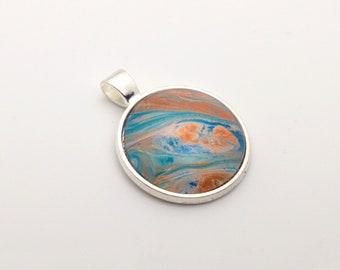 Acrylic Pour Pendant - #010 Copper Stream