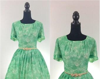 Betty Hartford Vintage Dress, 1960's Dress, Green Vintage Dress, VLV Dress, Dapper Day, Vintage Size Large, Vintage Day Dress, Floral Dress,