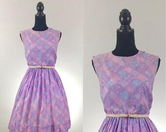 Sunday Picnic Lavender Vintage Dress, Gingham Dress, VLV Dress, Dapper Day, Rockabilly Dress, Tangled Dress Disneybound, Size Medium, Purple