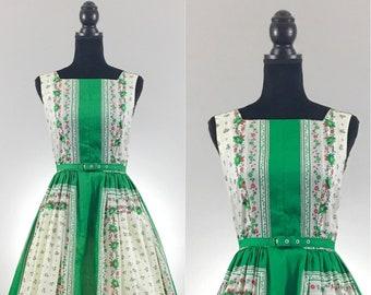 Summer in Europe Vintage Day Dress, Kelly Green, VLV Dress, Vintage Cotton Dress, Novelty Print Dress, Vintage Summer Dress, Rockabilly Dres