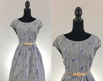 Polly Striped Dress, Scalloped Cotton Dress, Summer Dress, Dress Size Large, Novelty Print Dress, Dress With Pockets, VLV Dress, Rockabilly