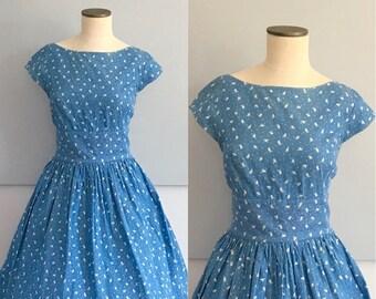 Blue Bird Cotton Dress, Dress With Pockets, VLV Dress, Boat Neck, Blue Summer Dress, Dapper Day, Novelty Print, Size Large, Bird Print, Tea
