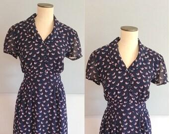 Navy Blue Bird Novelty Print Dress, VLV Dress, Short Sleeve, Summer Dress, Day Dress, Size Large, Mad Men Dress, Dapper Day Dress, Sailor