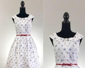 Ahoy Sailor Dress, Sailboat Cotton Dress, VLV Dress, Dapper Day Dress, Cotton Summer Dress, Day Dress Size Medium, Rockabilly Dress, Sailor