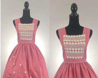 Cherry Picking Vintage Dress, 1950's Dress, Rockabilly Dress, Dapper Day Dress, Vintage Fit and Flare, Floral Dress, Vintage Lace, VLV Dress