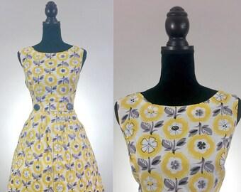 Lemonade Floral Cotton Dress, VLV Dress, Zooey Deschanel, Yellow Dress, Summer Dress, Dress Size Medium, Novelty Print, Tea Dress, 1950's