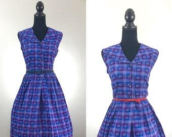 Purple Patio Vintage Dress, Vintage Day Dress, VLV Dress, Rockabilly Dress, Vintage Size Medium, Plaid Dress, Sailor Dress, Lavender Dress