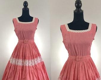 Picnic Basket Red Gingham Vintage Dress, 1950's Cotton Dress, VLV Dress, Dapper Day Dress, Rockabilly Dress, Red Dress, Vintage Size Medium