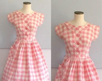 Strawberry Sundae Vintage Dress, 1950's Dress, Pink Vintage Dress, Cotton Dress, Summer Dress, Gingham Dress, VLV Dress, Rockabilly Dress,