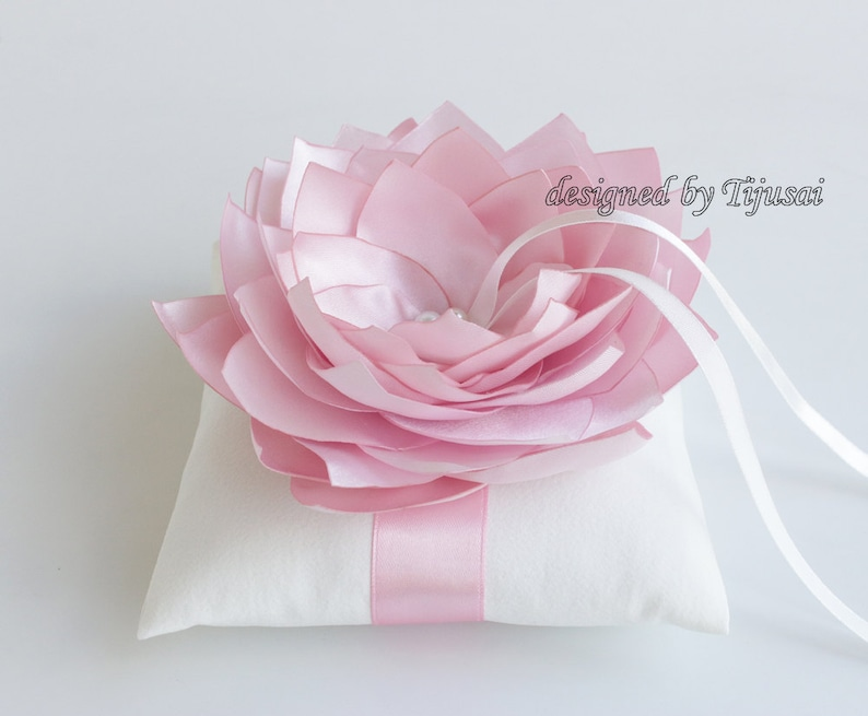 Wedding ring bearer pillow with pink satin lily ---wedding ring pillow ready to shipp rings cushion wedding pillow