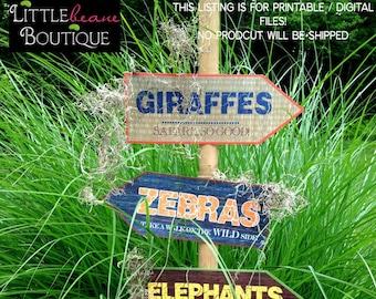 Printable Safari Jungle Signs, DIY, African Safari party signs, jungle party, Zoo banner, Safari birthday party, Safari party Decorations