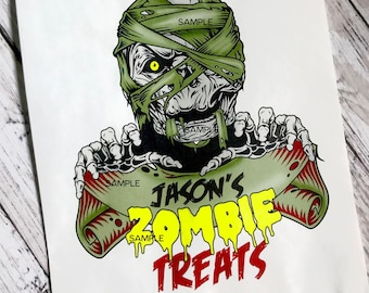Zombie Halloween Favor Bags - Zombie Treat Bags - Boys - Monster Treat bags -  Kids Halloween Candy bags - Halloween Favors - Personalized