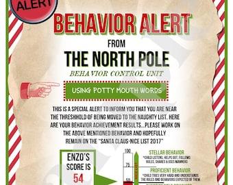 Printable Santa Letter, Kids Christmas Behavior Alert Letter,Warning Letter,Naughty  List,Behavior Report,Personalized Santa Letter,Magic Elf