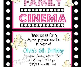 Popcorn invitation etsy movie night invitations movie night birthday party sleepeover slumber party movie and popcorn children kids film strip filmwisefo