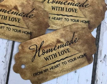 "100 TINY MINI 1/"" X 1//2/"" HEART Coffee Stained Primitive Price Gift Hang Tags lot"