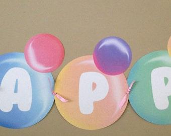 Printable Bubbles Birthday Banner,  DIY, Bubble banner, Blowing Bubbles Birthday party, Bubble birthday party,  Bubble Printables
