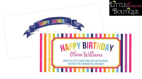 personalized birthday money envelopes girls boys money etsy