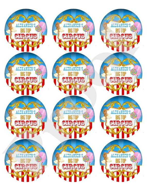 Circus Carnival Party Thank You Sticker Labels
