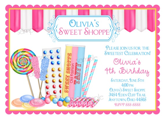 candy birthday invitations sweet shop invitations candy shop etsy