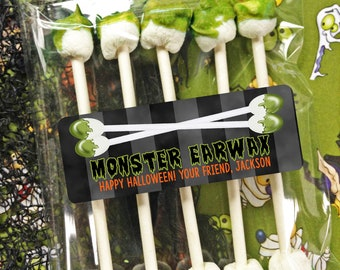 Kids Halloween Stickers, MONSTER EARWAX, Halloween Class Treats, Monster Stickers, Zombie favor labels, Gross and Silly, Set of 30 stickers