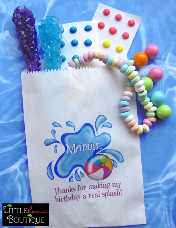 0724bda3b7d Pool Party, Personalized Candy Bags, Pool party Favor bags, pool party  favors,Candy Buffet, Birthday party, Sweets, Treats