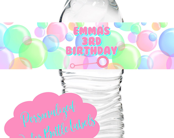 Bubbles Birthday Party, Bubble waterbottle labels, Bubble  party, Bubble blowing, party decorations, Blowing bubbles stickers,1st Birthday