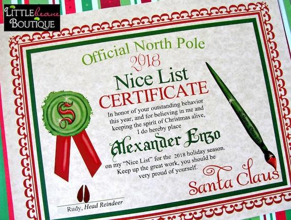 image about Printable Santa Nice List Certificate named Printable Santas Great Record Certification,Do it yourself Santa Letter