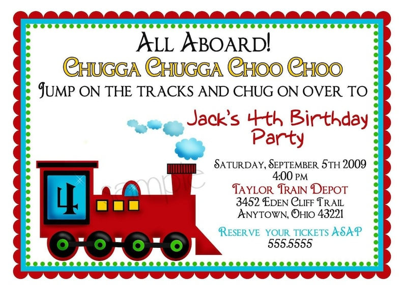 Train Invitations Invites Birthday