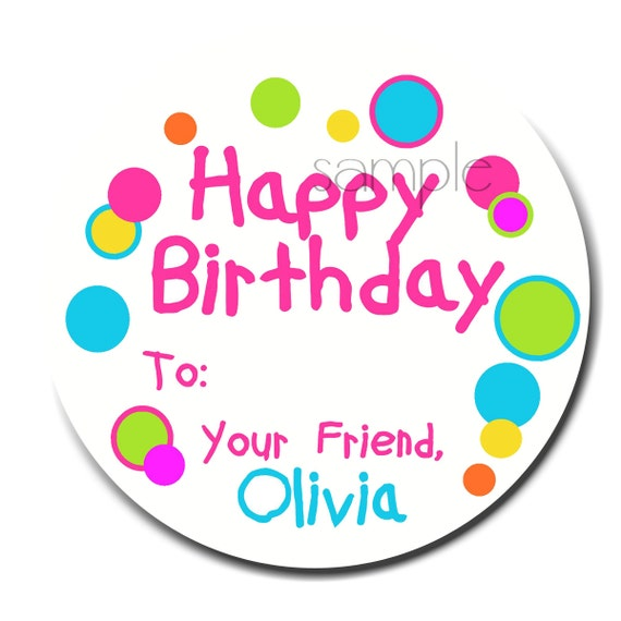 Personalized Birthday Stickers HOT COLORS Gift