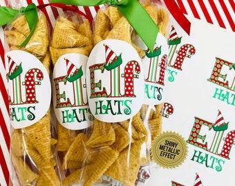 Christmas Stickers - Elf Hat Stickers - Secret Elf Treat labels - Christmas Party Favors - Class Treats - Elf Snacks - Elf Party favors