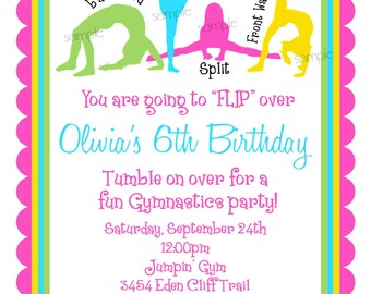 Gymnastics birthday party invitations gymnastics invitations gymnastics birthday invitations gymnastics birthday partygirls birthday children stopboris Image collections