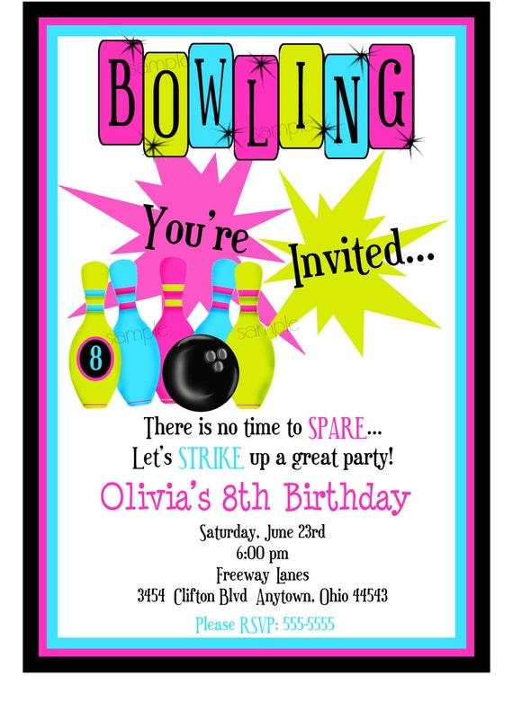 bowling invitations kids bowling birthday party cosmic bowling