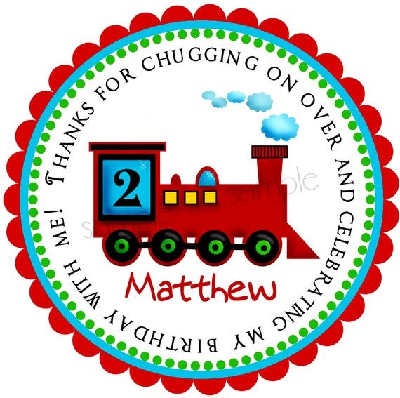 """12 Choo Choo Train Personalized Birthday Party Stickers Favors Labels tags 2.5/"""""""